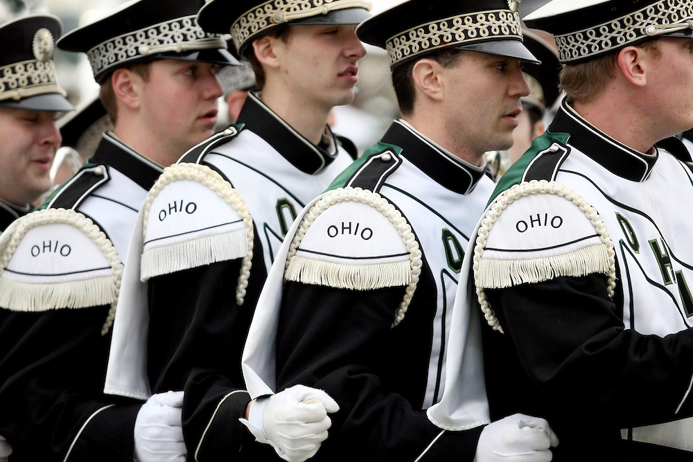 Members of the Ohio band prepare to take the field before the start of Advocare V100 Independence Bowl NCAA college football game, Friday, Dec. 28, 2012, in Shreveport, La.