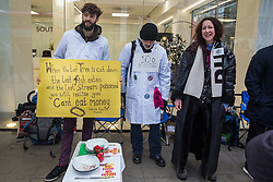 London, UK. 22 November, 2019. Scientists for XR show solidarity with Extinction Rebellion activists on the fifth day of a hunger strike outside the headquarters of the Labour Party during a demonstration intended to communicate the science relating to the climate and ecological emergency. Activists were dressed in labcoats to represent the 1600 scientists worldwide who have signed the Scientists Declaration in support of non-violent direct action against government inaction against the climate and ecological emergency.