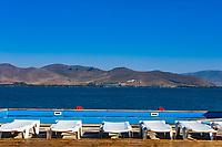 swimming pool in front of Lake Sevan landmark of Gegharkunik Armenia eastern Europe