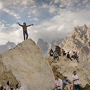 During the yearly celebration of Imamat Day (11 July), a day to celebrate the crowning of the current Aga Khan. Ismailis usually celebrate this day with dancing and religious singing, sport activities etc. In Passu village, upper Hunza, Gojal region.