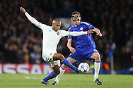 Yacine Brahimi of FC Porto and Nemanja Matic of Chelsea in action. UEFA Champions league group G match, Chelsea v Porto at Stamford Bridge in London on Wednesday 9th December 2015.<br /> pic by John Patrick Fletcher, Andrew Orchard sports photography.