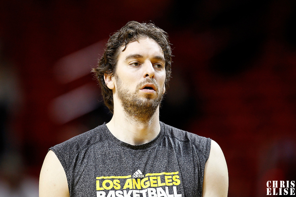 19 January 2012:  Los Angeles Lakers power forward Pau Gasol (16) is seen prior to the Miami Heat 98-87 victory over the Los Angeles Lakers at the AmericanAirlines Arena, Miami, Florida, USA.