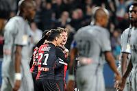 Fotball<br /> Frankrike<br /> Foto: Panoramic/Digitalsport<br /> NORWAY ONLY<br /> <br /> Joie Anders Konradsen apres son but - Benjamin Andre - Mahamadou Habibou (Rennes)<br /> <br /> Rennes vs Marseille - Coupe de la Ligue - 29/10/2014