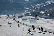 The Laax Open slopestyle course on 19th January 2017 in Laax,  Switzerland. The Laax Open is a FIS Snowboarding World Championship event in Laax ski resort.