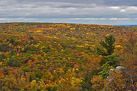 The Baraboo Hills burst into color in early October. Devil's Lake State Park is the most visited park in the state of Wisconsin and for good reason. There are many scenic views such as this when you hike to the top of the bluffs.
