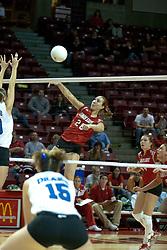 20 November 2004....Kari Staehlin for the kill.....Illinois State University Redbirds V Drake Bulldogs Women's Volleyball.  Redbird Arena, Illinois State University, Normal IL