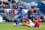 Kenneth Zohore of Cardiff city (l) is fouled by Daniel Fox of Nottingham Forest. EFL Skybet championship match, Cardiff city v Nottingham Forest at the Cardiff City Stadium in Cardiff, South Wales on Easter Monday 17th April 2017.<br /> pic by Andrew Orchard, Andrew Orchard sports photography.