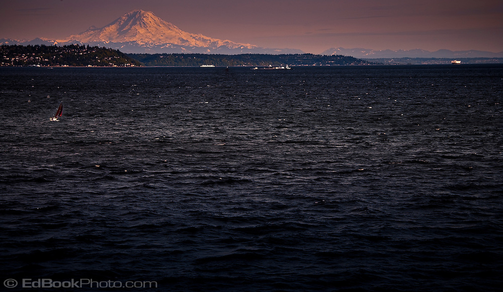 evening light on Mount Rainier from Puget Sound, WA, USA