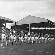 Players line out onto the pitch before the All Ireland Senior Gaelic Football Championship Final Louth v Cork at Croke Park on the 22nd September 1957. Louth 1-09 Cork 1-07.
