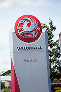 Vauxhall dealership sign. Car sales dealership, Ransomes Europark, Ipswich, Suffolk, England