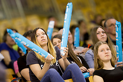 Supporter of OK Calcit Volley during 1st Leg volleyball match between ACH Volley and OK Calcit Volley in Final of 1. DOL Slovenian National Championship 2017/18, on April 17, 2018 in Hala Tivoli, Ljubljana, Slovenia. Photo by Urban Urbanc / Sportida