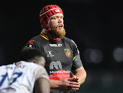 Dragons Joe Davies<br /> <br /> Photographer Mike Jones/Replay Images<br /> <br /> European Rugby Challenge Cup Round 6 - Dragons v Bordeaux Begles - Saturday 20th January 2018 - Rodney Parade - Newport<br /> <br /> World Copyright © Replay Images . All rights reserved. info@replayimages.co.uk - http://replayimages.co.uk