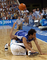 29/08/04 - ATHENS  - GREECE -  - BASKETBALL SEMIFINAL MATCH   - Indoor Olympic Stadium - <br />ARGENTINA win over ITALY and win the GOLD MEDAL<br />Argentine celebration after win the match.<br />Here Argentine ALEJANDRO MONTECCHIA and Italy N*11 ROMBALDONI Rodolfo.<br />© Gabriel Piko / Argenpress.com / Piko-Press
