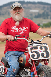 Brent Johnson on his Indian Scout at the Vintage Motorcycle Races at the Sturgis half mile track during the annual Sturgis Black Hills Motorcycle Rally. Sturgis, SD. USA. Saturday August 5, 2017. Photography ©2017 Michael Lichter.