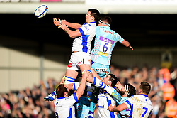 Sam Skinner of Exeter Chiefs contends for the aerial ball at the line out with Thibault Lassalle of Castres Olympique - Mandatory by-line: Ryan Hiscott/JMP - 13/01/2019 - RUGBY - Sandy Park Stadium - Exeter, England - Exeter Chiefs v Castres - Heineken Champions Cup
