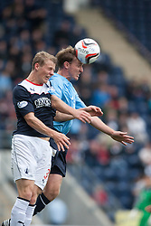 Falkirk's Stephen Kingsley and Dundee's Gary Irvine.<br /> Falkirk 3 v 1 Dundee, 21/9/2013.<br /> ©Michael Schofield.