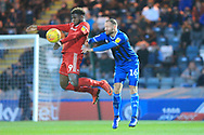 Matty Done challenges Offrande Zanzala during the EFL Sky Bet League 1 match between Rochdale and Accrington Stanley at Spotland, Rochdale, England on 24 November 2018.