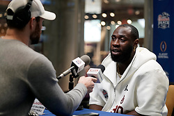 Neville Gallimore #90 of the Oklahoma Sooners speaks with the media at Media Day on Thursday, Dec. 26, in Atlanta. LSU will face Oklahoma in the 2019 College Football Playoff Semifinal at the Chick-fil-A Peach Bowl. (Paul Abell via Abell Images for the Chick-fil-A Peach Bowl)
