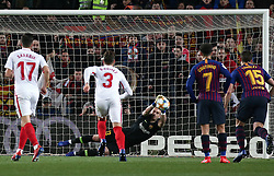 January 30, 2019 - Barcelona, Spain - Jasper Cillessen saves a penalty during the match between FC Barcelona and Sevilla FC, corresponding to the secong leg of the 1/4 final of the spanish cup, played at the Camp Nou Stadium, on 30th January 2019, in Barcelona, Spain. Photo: Joan Valls/Urbanandsport /NurPhoto. (Credit Image: © Joan Valls/NurPhoto via ZUMA Press)