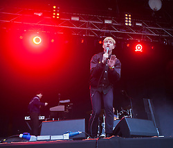 Jonathan Pierce of The Drums play the main stage..Rockness 2012..©Michael Schofield..