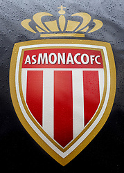 A general view of a AS Monaco Crest on display at Stade Louis II stadium prior to the beginning of the match