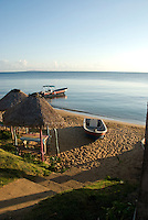 Pangas beached and moored for the evening in the harbor of Little Corn Island off the Caribbean coast of Nicaragua.