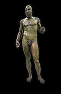 The Riace bronze Greek statues cast about 460 BC. Museo Nazionale della Magna Grecia,  Reggio Calabria, Italy. .<br /> <br /> If you prefer to buy from our ALAMY STOCK LIBRARY page at https://www.alamy.com/portfolio/paul-williams-funkystock/greco-roman-sculptures.html . Type -    Riace     - into LOWER SEARCH WITHIN GALLERY box - Refine search by adding a background colour,  etc.<br /> <br /> Visit our ROMAN WORLD PHOTO COLLECTIONS for more photos to download or buy as wall art prints https://funkystock.photoshelter.com/gallery-collection/The-Romans-Art-Artefacts-Antiquities-Historic-Sites-Pictures-Images/C0000r2uLJJo9_s0