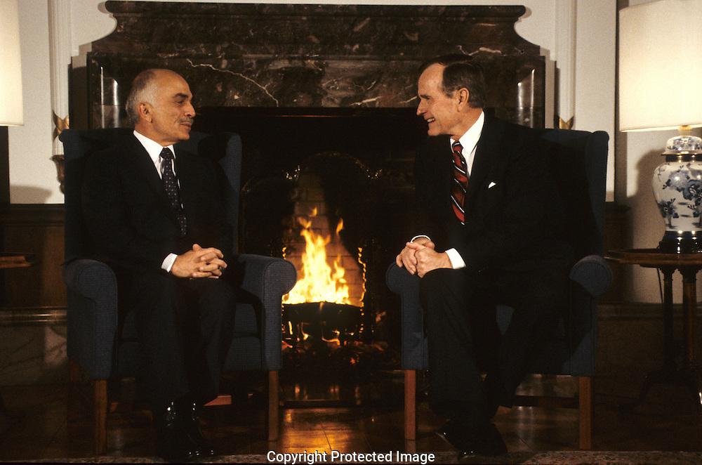 George HW Bush (Bush 41) meets King Hussein in Tokyo during  the economic summit...Photograph by Dennis Brack bb 27