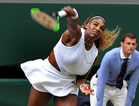 Tennis - 2019 Wimbledon Championships - Week Two, Saturday (Day Twelve)<br /> <br /> Women's Singles, Final: Serena Williams (USA) vs. Simona Halep (ROU)<br /> <br /> Serena Williams  on Centre Court.<br /> <br /> COLORSPORT/ANDREW COWIE