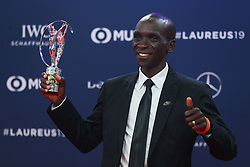 """2019?2?19?.    ????2019??????????????????.    2?18??????????????????????????????????.    ???2019????????????????""""????""""??????.    ?????????..SP-MONACO-WORLD SPORTS AWARDS-UNVEIL.Kenyan athlete Eliud Kipchoge shows the trophy after winning the Academy Exceptional Achievement Award at the 2019 Laureus World Sports Awards ceremony in Monaco, Feb. 18, 2019. The 2019 Laureus World Sports Awards were unveiled in Monaco on Monday. (Credit Image: © Zheng Huansong/Xinhua via ZUMA Wire)"""