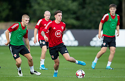 CARDIFF, WALES - Monday, August 31, 2020: Wales' Ryan Stirk (Birminham City FC) (L) and Cameron Coxe (Solihull Moors FC) during a training session at the Vale Resort ahead of the UEFA Under-21 Championship Qualifying Round Group 9 match between Bosnia and Herzegovina and Wales. (Pic by David Rawcliffe/Propaganda)