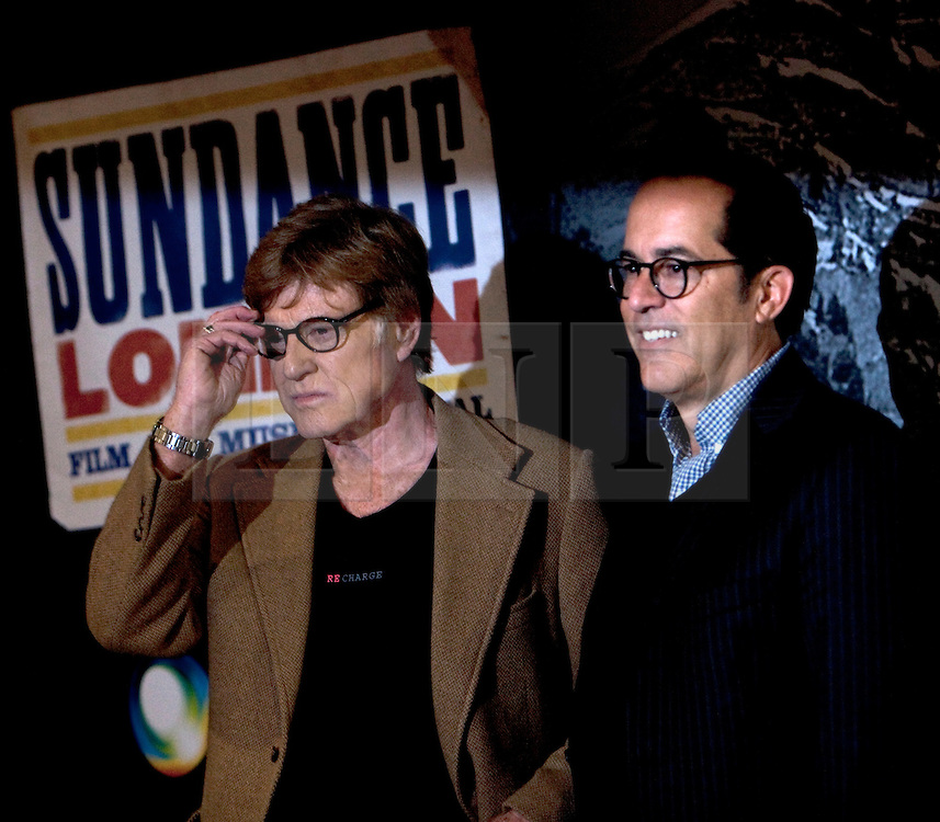 © Licensed to London News Pictures. 26/04/2012. London, U.K..Sundance founder Robert Redford  (L) with John Cooper, DIrector of the Sundance festival(R) bring his festival to London for the first time and takes place at the O2 Arena.  The four day event features film screenings, live music and panel discussions. It is Expected to include films that debuted at the US Sundance festival in January..Photo credit : Rich Bowen/LNP