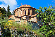 The exterior of the Byzantine Church of St Theodoroi Church. Mystras ,  Sparta, the Peloponnese, Greece. A UNESCO World Heritage Site .<br /> <br /> Visit our GREEK HISTORIC PLACES PHOTO COLLECTIONS for more photos to download or buy as wall art prints https://funkystock.photoshelter.com/gallery-collection/Pictures-Images-of-Greece-Photos-of-Greek-Historic-Landmark-Sites/C0000w6e8OkknEb8 <br /> .<br /> <br /> Visit our BYZANTINE ART PHOTO COLLECTION for more   photos  to download or buy as prints https://funkystock.photoshelter.com/gallery-collection/Roman-Byzantine-Art-Artefacts-Antiquities-Historic-Sites-Pictures-Images-of/C0000lW_87AclrOk