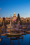 Parliment Building, Twilight, Victoria, Harbor, Vancouver Island, Brithish Columbia, Canada