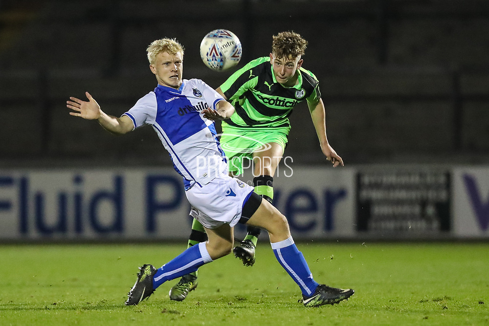 Forest Green Rovers Jay Malshanskyj(7) clears the ball during the The FA Youth Cup match between Bristol Rovers and Forest Green Rovers at the Memorial Stadium, Bristol, England on 2 November 2017. Photo by Shane Healey.
