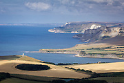 View of Kimmeridge Bay and Clavell Tower from Swyre Head. Dorset, UK.