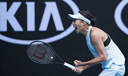 MELBOURNE, Jan. 15, 2018  Zhang Shuai of China celebrates victory after the women's singles first round match against Sloane Stephens of the U.S. at Australian Open 2018 in Melbourne, Australia, Jan. 15, 2018. Zhang Shuai won 2-1. (Credit Image: © Zhu Hongye/Xinhua via ZUMA Wire)