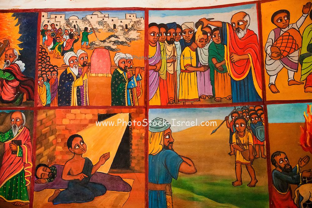 Naive Paintings (Ethiopian style) of biblical stories in a church in kalacha Kenya