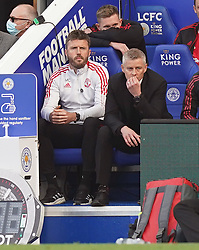 Manchester United manager Ole Gunnar Solskjaer looks dejected alongside Michael Carrick during the Premier League match at the King Power Stadium, Leicester. Picture date: Saturday October 16, 2021.