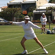 Rita Orice, USA,  in action in the 80 Womens Singles during the 2009 ITF Super-Seniors World Team and Individual Championships at Perth, Western Australia, between 2-15th November, 2009.