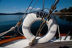 Life Ring on Orion at Jones Island State Park, San Juan Islands, Washington, US
