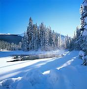 Winter Emerald River, Emaerald Lake, Yoho National Park, Alberta, Canada