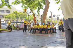 It is fashionable to wear a yellow garment (color of royalty) to show respect to the King Bangkok is preparing for the event, Royal Palace District, Coronation of the King of Thailand, Rama X, His Majesty King Maha Vajiralongkorn Bodindradebayavarangkun, Bangkok, Thailand, on May 04, 2019. Photo by Loic Baratoux /ABACAPRESS.COM