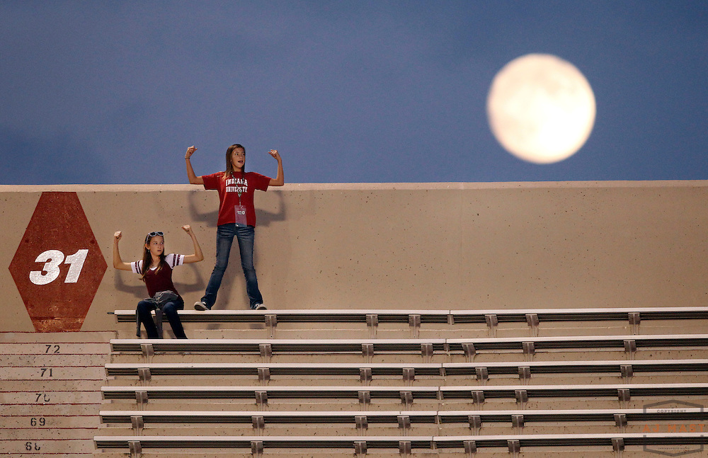 10 September 2011: Indiana fans show their strength as the moon rises over memorial stadium as the Virginia Cavaliers played the Indiana Hoosiers in a college football game in Bloomington, Ind.