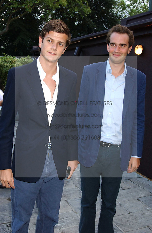 Left to right, the HON.ALEXANDER SPENCER-CHURCHILL and FRITZ VON WESTENHOLTZ at the opening party of the new Frankie's Italian Bar and Grill hosted by Frankie Dettori, Marco Pierre White and Edward Taylor at 68 Chiswick High Road, London W4 on 1st September 2005.<br /><br />NON EXCLUSIVE - WORLD RIGHTS