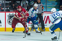 REGINA, SK - MAY 19: Jordan Maher #16 of Acadie-Bathurst Titan skates with the puck against the Swift Current Broncos at the Brandt Centre on May 19, 2018 in Regina, Canada. (Photo by Marissa Baecker/CHL Images)