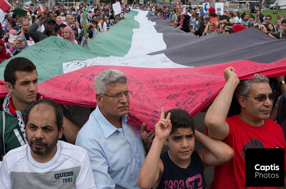 Demonstrators gather in Ottawa in support of Palestine.