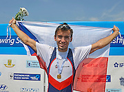 Plovdiv BULGARIA. ..Junior Men's Single Sculls  Gold Medalist CZE JM1X, Michal PLOCEK ...2012 FISA Junior and Non Olympic . Rowing Championships, Plovdiv Rowing Course.     12:28:49  Sunday  19/08/2012   [Mandatory Credit Peter Spurrier: Intersport Images]...