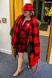 © Licensed to London News Pictures. 13/12/2019. Denham, UK. Alexa Collins the Labour Party candidate arrives at the offices of the South Bucks District Council for the Beaconsfield constituency vote count for the 2019 General election. Photo credit: Peter Manning/LNP