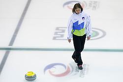 Eva Sever, head coach of Slovenia during curling match between National teams of Slovenia and Lithuania in 6th Round of European Curling Championship on April 29, 2016 in Ledena dvorana Zalog, Ljubljana, Slovenia. Photo By Urban Urbanc / Sportida
